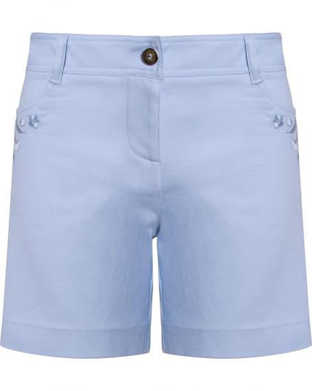 Shorts Bermuda Feminino Com Bordado No Bolso Seiki Em Sarja
