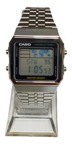 Relogio Casio Digital Prata A500wa Mapa - Original C/ Caixa