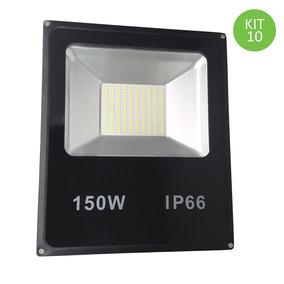 Refletor Led Smd 150w Branco Frio Prova D´água Bivolt Kit 10