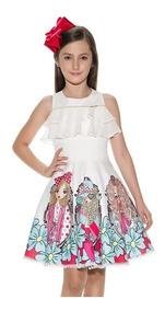 Vestido Infantil Estampado Miss Cake Bordado Luxo Princesa