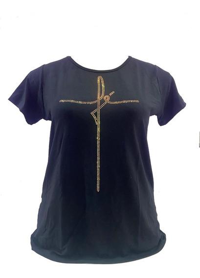Blusa Feminina Viscolycra Plus Size Aplicação De Pedras - Fé
