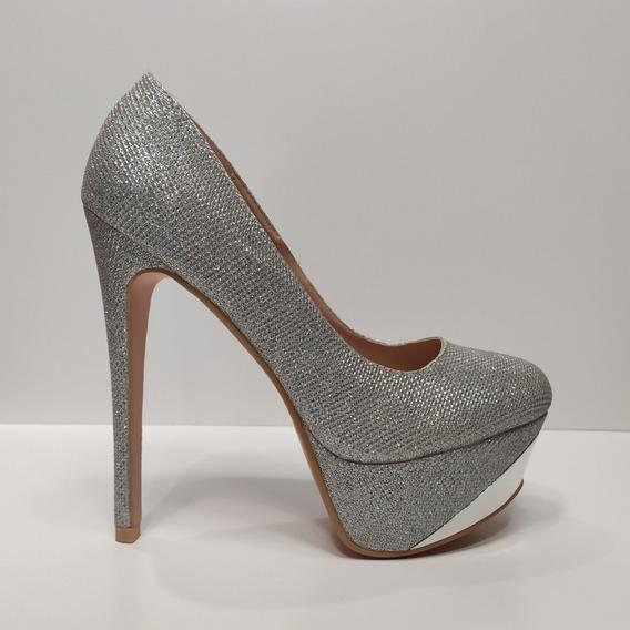 Zapatos Dama Plateados Taco Aguja De 15 Cm Talles Grandes