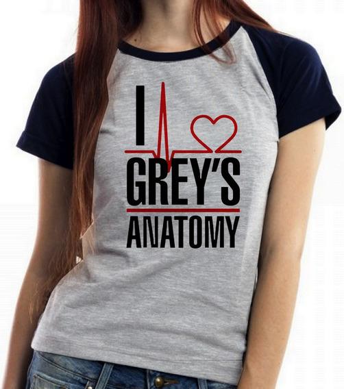 Blusa Baby Look I Love Greys Anatomy Serie Medica Enfermagem