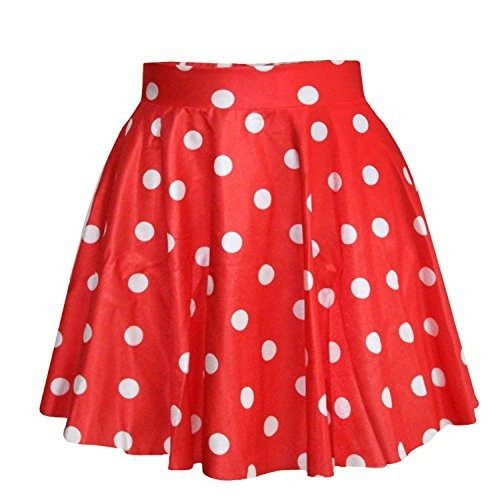 Saym Mujeres Niñas Elástico Polka Dot Flared Mini Falda