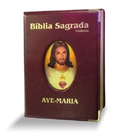Bíblia Ilustrada Marrom Grande Luxo Ave Maria