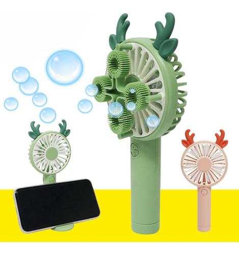 Ventilador Viajero Recargable Con Burbujero Soporte Celular