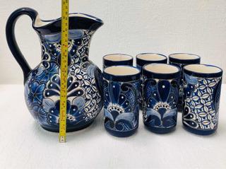 Jarra De Talavera 6 Vasos Pintada A Mano Azul ¡envio Gratis!
