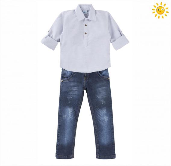 Conjunto Social Bebê Camisa E Calça Jeans Sarja