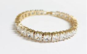 Pulseira Bracelete Dourada Com Zircônia