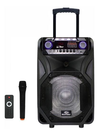 Caixa De Som Amplificada 400wrms Bateria Mic S/fio Bluetooth