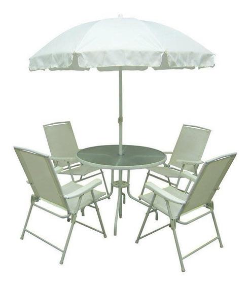 Conjunto Mor Malibu Mesa Com 4 Cadeiras E Guarda-sol,branco