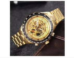 Relógio Skeleton Winner Mecânico Automátic Aço Luxo Estiloso