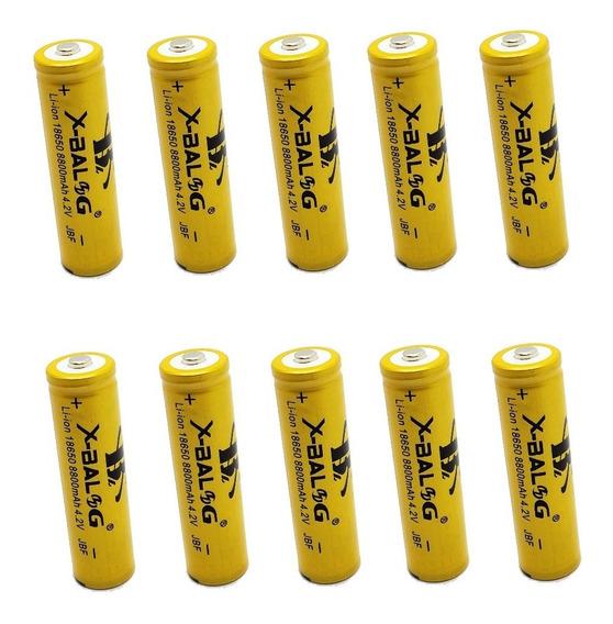 10x Bateria Pilha X - Balog Recarregável 4.2v 18650 Li-ion