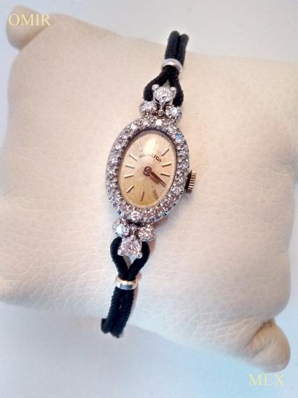 Reloj Hamilton Oro Blanco 14k Diamantes Vintage Video
