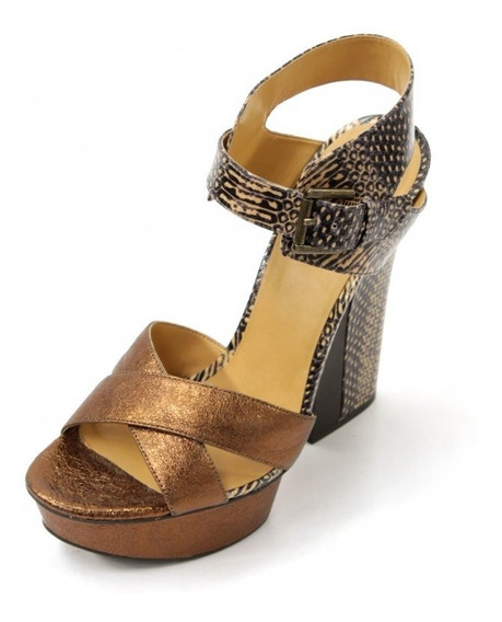 Zapatos Dorados Con Animal Print Nine West