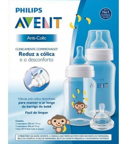 Imagem 1 de 2 de Kit Mamadeiras Anti-colic 260 E 330 Ml Macaco