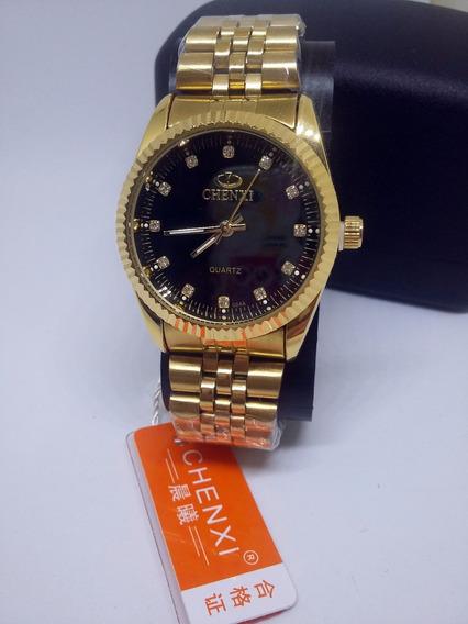 Relógio Analógico Original Dourado De Luxo Chenxi