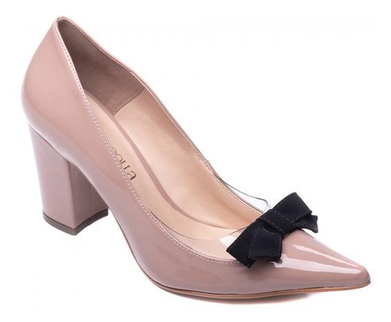 Sapato Feminino Salto Baixo Scarpin Rosê De Festa Trabalho