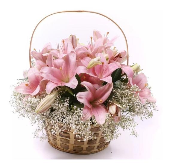 Canasta De Flores Lilium Regalo Cumpleaños Mujer