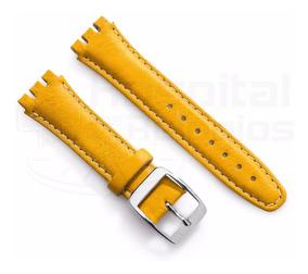 Pulseira Swatch Couro Liso 17mm Amarelo Irony Clássico