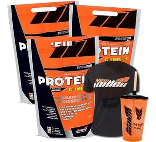 3 X Protein Complex 1.8kg + 1 Camiseta + 1 Copo - New Millen