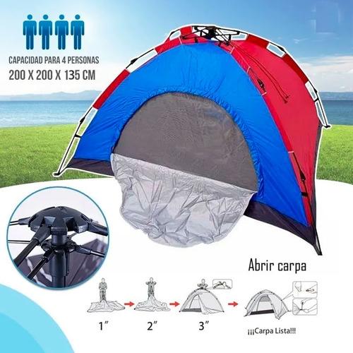 Imagen 1 de 3 de Carpa Automática De Camping Semi Impermeable 4 Personas 2x2