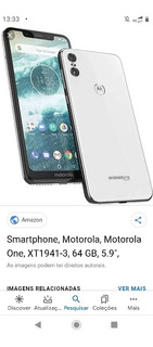 Celular Moto One, Branco 64 Giga
