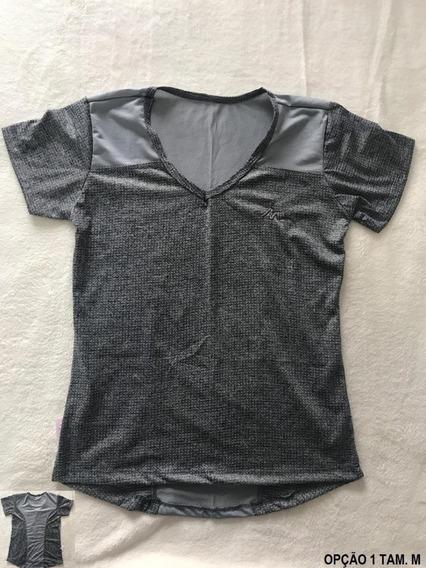Roupa Fitness Camiseta Feminina Gola V 100% Poliester