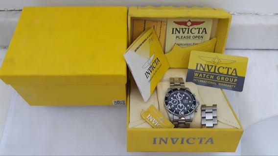 Relógio Invicta Chronograph 200m/660ft+caixa+cartão+papeis