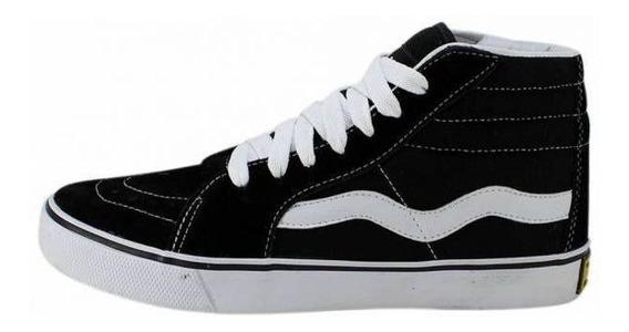 Tênis Mad Rats Sneakers Hi Top Preto Branco Skate Cano Alto