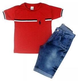 Kit 2 Conjunto Infantil Bermuda E Camisa+ 2 Calça Jeans