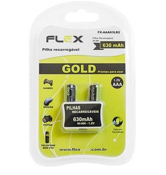 2 Pilhas Recarregável Aaa Flex Gold 1000 Mah