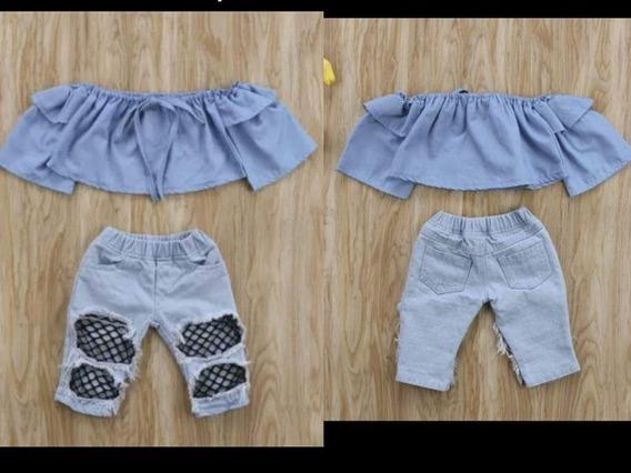 Conjunto Importado De 2 Piezas. Blusa+jeans Denim