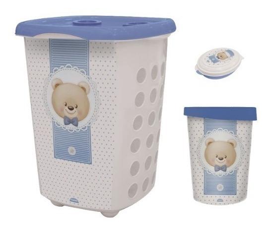 Cesto + Lixeira + Saboneteira Infantil Urso Menino