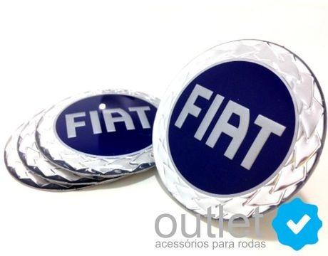 Jg Emblema Miolo Adesivo De Calota Fiat Azul (65mm) Jg. 4pçs