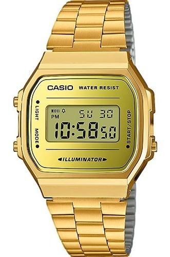 Relógio Digital Vintage Retro Unissex Dourado Promoção