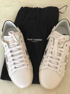 Sneaker Saint Laurent Paris Piel Blanco-estrellas Plata 5 Mx