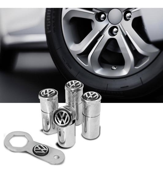 Tampa 4 Bicos Válvula Antifurto Pneu Capa Cromado Volkswagen
