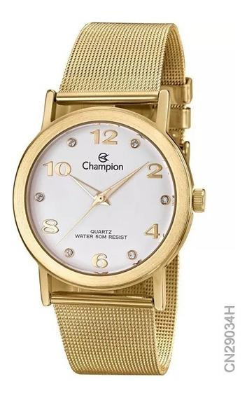 Relógio De Ponteiro Champion Dourado Feminino De Pulso Analógico Original Da Champion Tamanho G 21cm