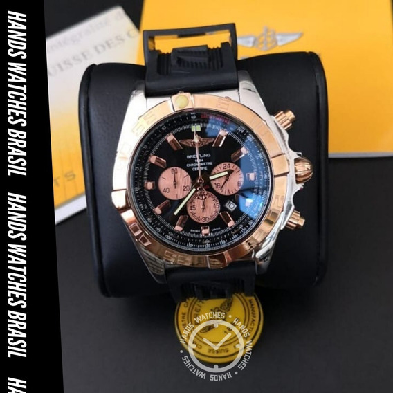 Relógio De Luxo Aço Gold Black Dial