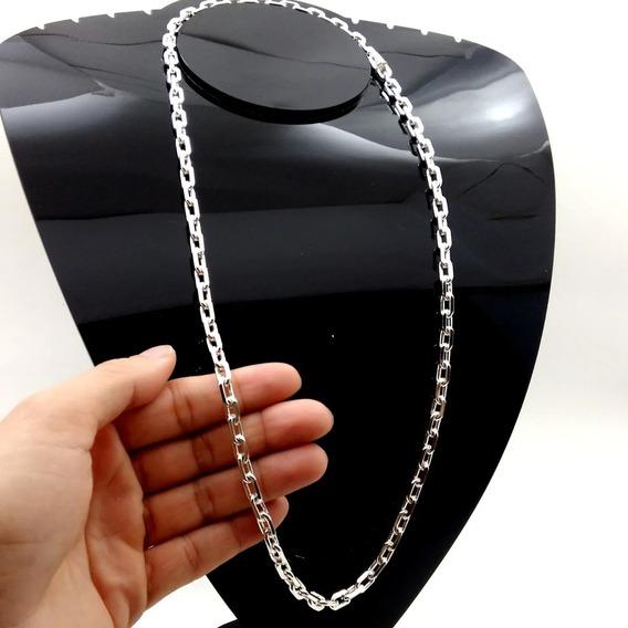 Corrente Cordão Cadeado Prata Maciça 925 F/ Gaveta 70cm 6mm