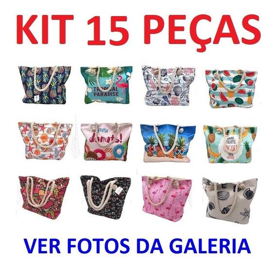 Kit 15 Bolsas De Praia Ombro Corda Estampas Variadas Atacado