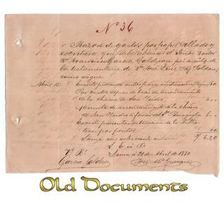 1880 Documento Firmado Por Don Francisco Garcia Calderon