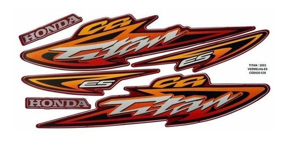 Jogo Adesivo Cg 125 Titan Es Vermelho 2003