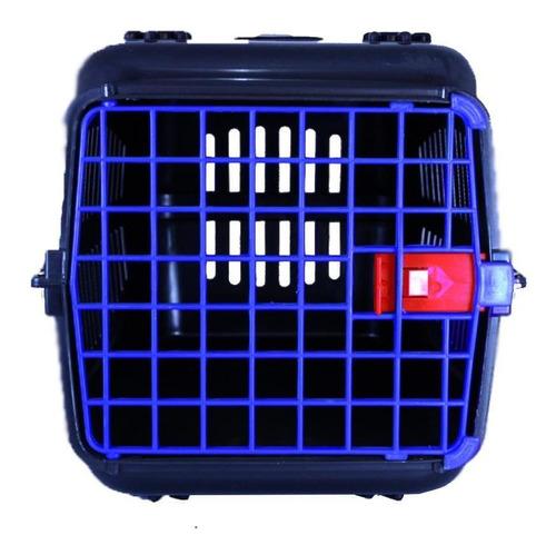 Caixa De Transporte Alça Porta Gatos Preta/porta Azul N3