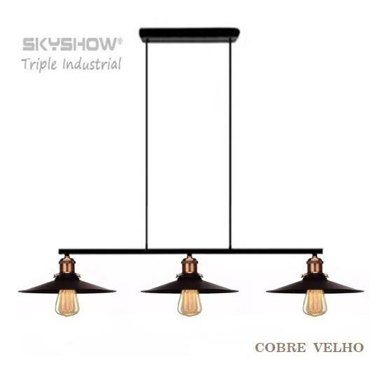 Pendente Industrial Trio Cor Cobre Envelhecido +3lamp