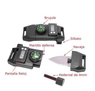 Broche Pedernal C/ Reloj Navaja Brujula Brazalete Paracord