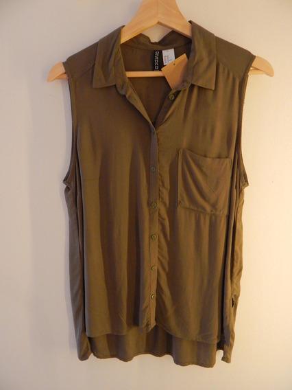 Camisa Sin Mangas H&m Fibrana Verde Militar