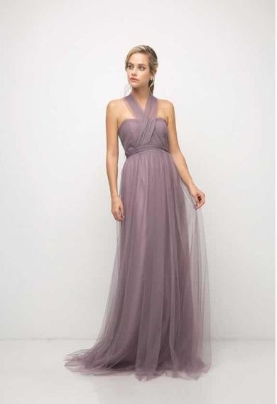 Vestido En Tul Transformable Color Lavanda . Talla 14