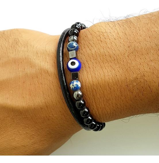 Pulseira Masculina Amuleto Proteção Olho Grego E Couro